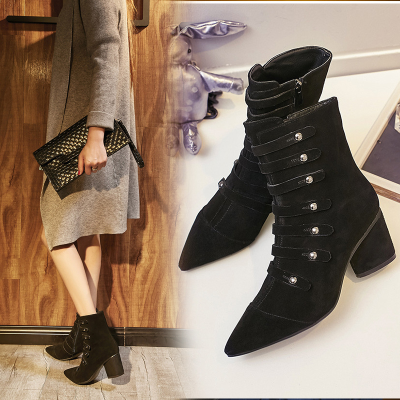 2016 european leg of the new 7cm high heels leather pointed boots thick with female autumn and winter fashion martin boots women customization