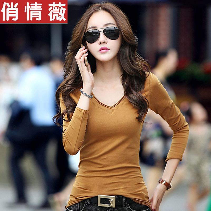 2016 fall and winter clothes new slim large size cotton v-neck t-shirt female wild bottoming shirt long sleeve t-shirt female korean