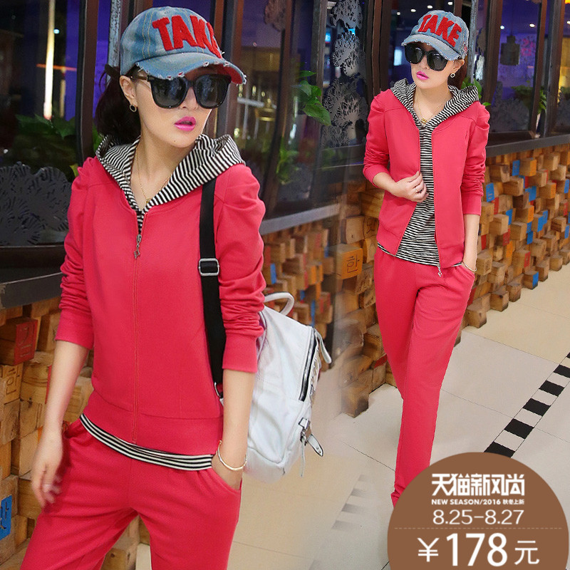 2016 female sports and leisure suits autumn ladies wear suits korean slim was thin hooded jogging suits three piece tide