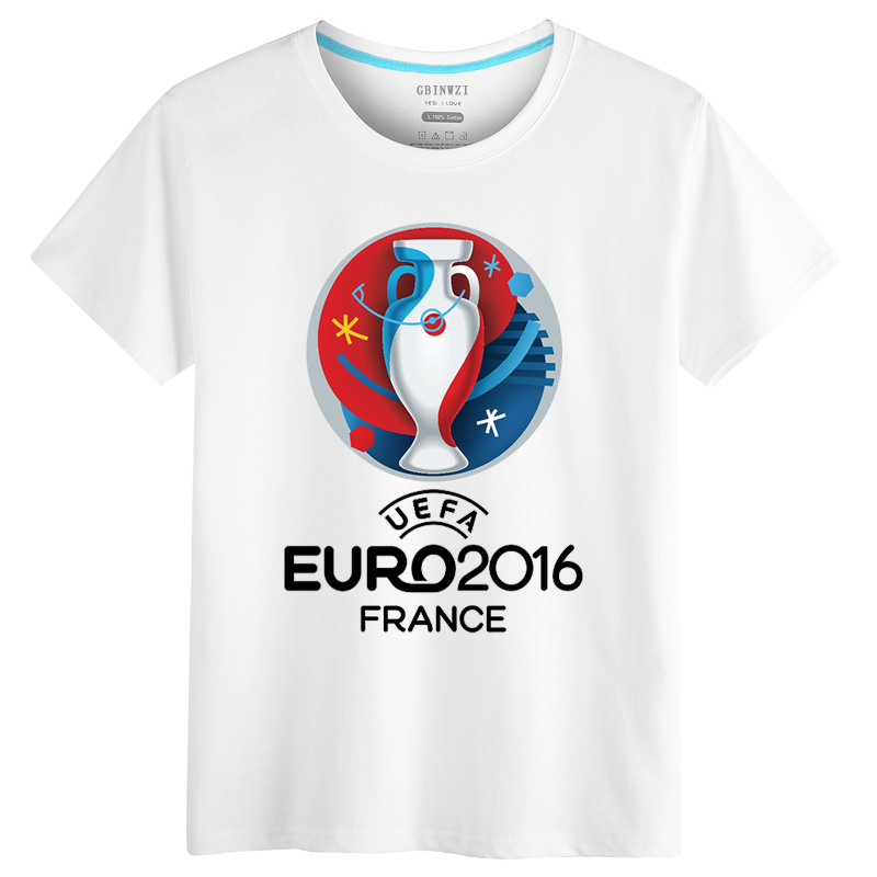 2016 french european cup soccer jersey short sleeve t-shirt men short sleeve cotton portugal fans commemorative t-shirt