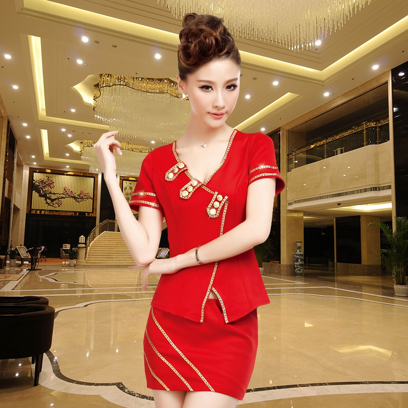 2016 halter new career stewardess dress sauna technician uniforms foot reflexology foot gong master nightclub dress uniform