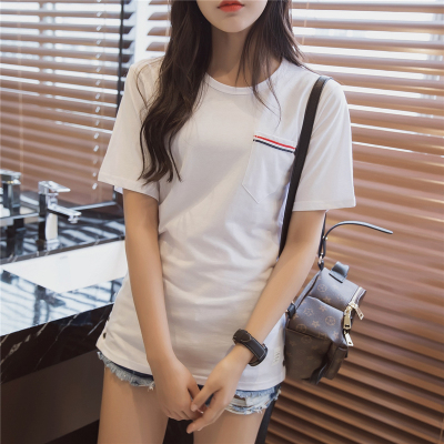 2016 korean version of round neck short sleeve white t-shirt blouses student summer was thin stripe pocket loose korean simple