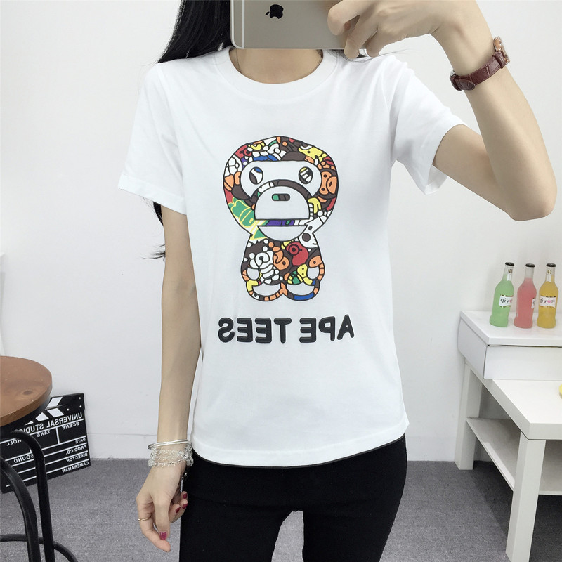 2016 korean version of spring and summer new large size small colored cartoon monkey lovers short sleeve t-shirt female students
