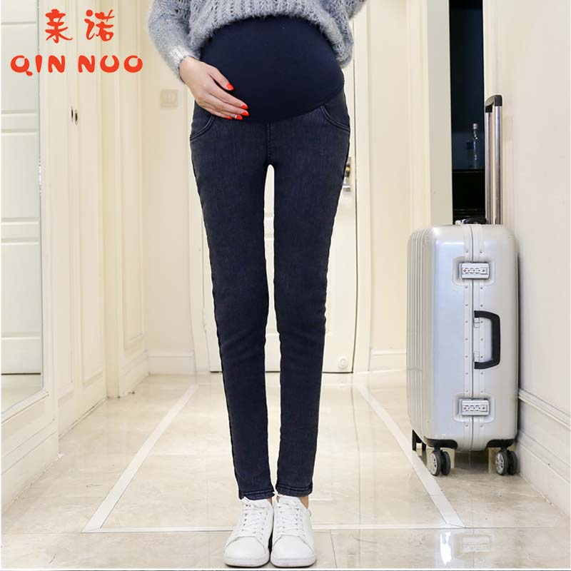 2016 korean version of the new denim plus thick velvet pants pregnant women pregnant belly pants feet care of pregnant women big yards slim was thin pants tide