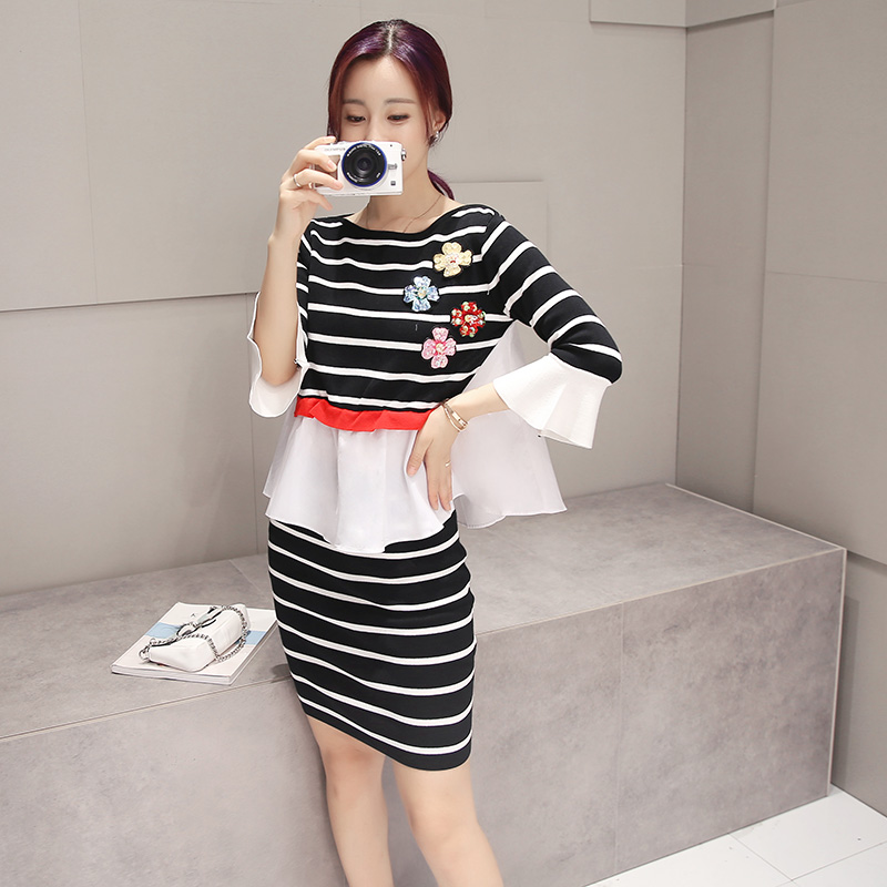 2016 korean version of the new fall striped knit skirt female free shipping women fashion sequined flowers piece suit