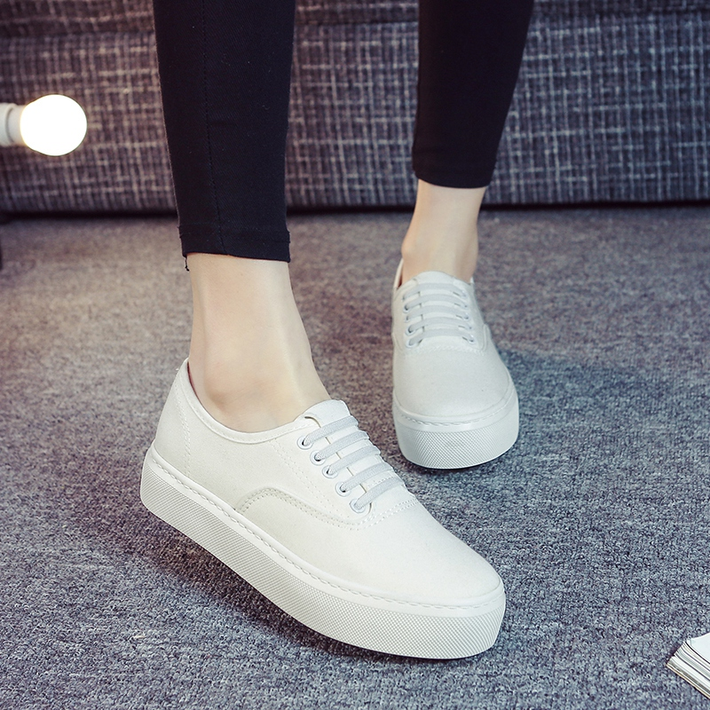 2016 korean version of the new spring and summer sets foot shoes to help low canvas shoes shallow mouth shoes flat shoes with a pedal lazy thick crust