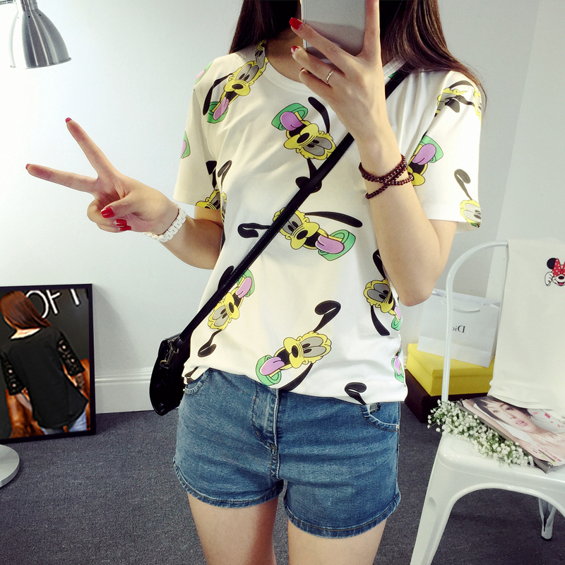 2016 korean version of the summer stay meng big ears students loose round neck short sleeve t-shirt new wild casual women tide
