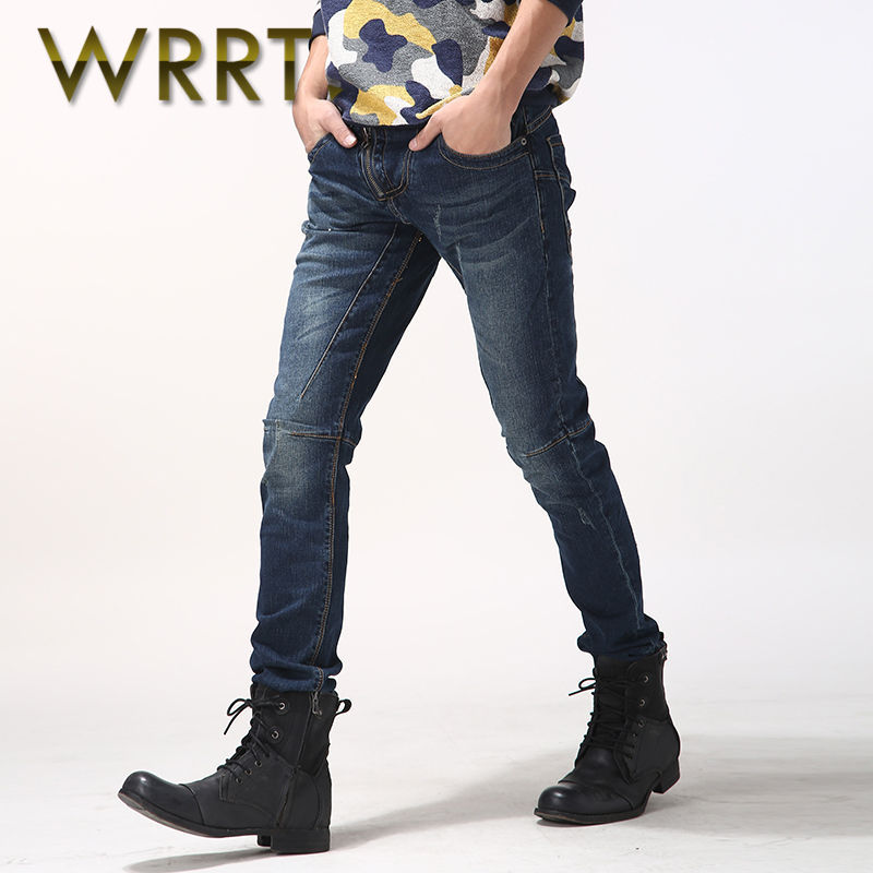 2016 men's fashion stitching wrrt spring new slim stretch pants feet washed jeans trousers 1455