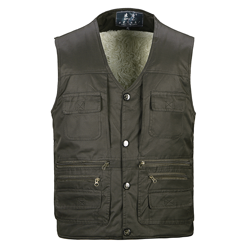 2016 middle-aged men's fall and winter cashmere imitation wool thick black thick cotton vest male vest vest pocket more and more pockets