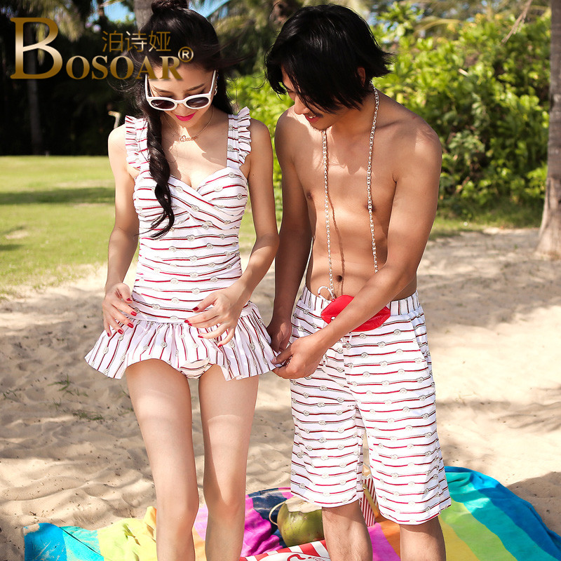 2016 new anti emptied comfortable bosoar shoulders with siamese female swimsuit male swimming trunks tether summer couple models