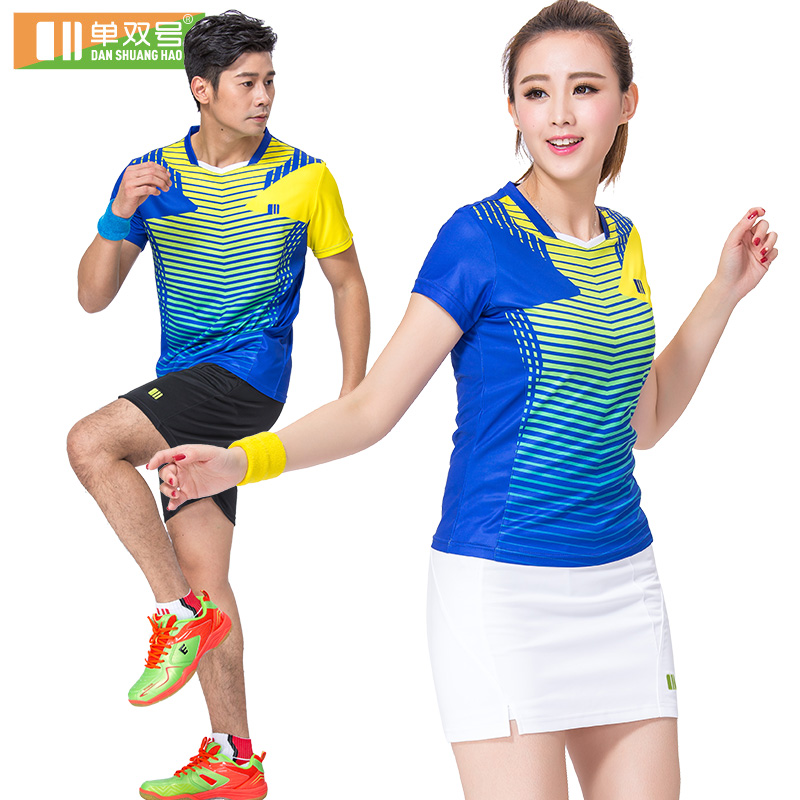 2016 new authentic badminton clothing suit male and female models odd and even numbers badminton clothing wicking short sleeve sportswear