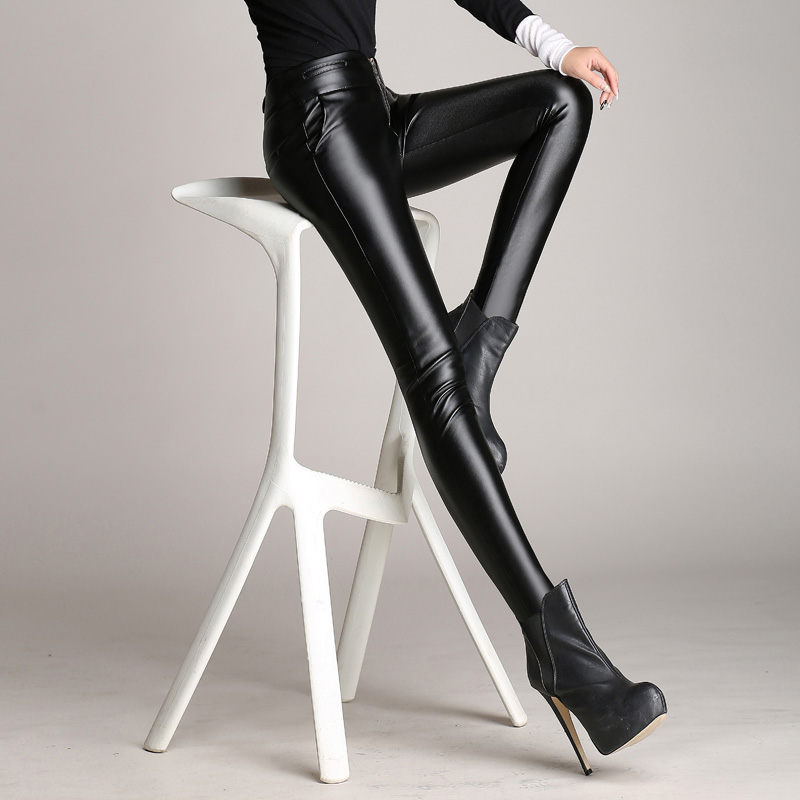 2016 new autumn and winter pu leather pants female outer wear leggings tight waist pencil pants thin section korean version of the small foot fall and winter