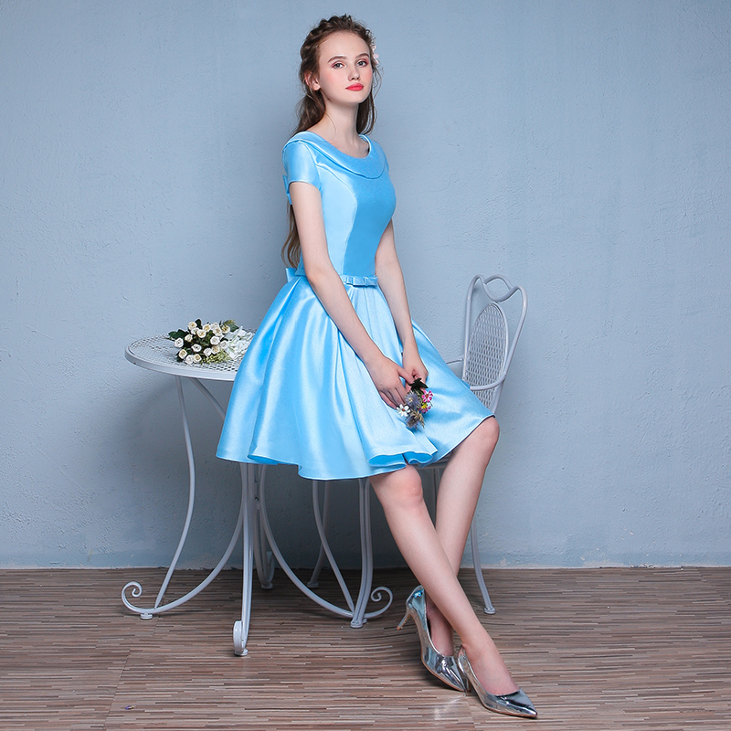 2016 new blue dress annual meeting short paragraph evening dress fashion shoulder slim dress women evening banquet