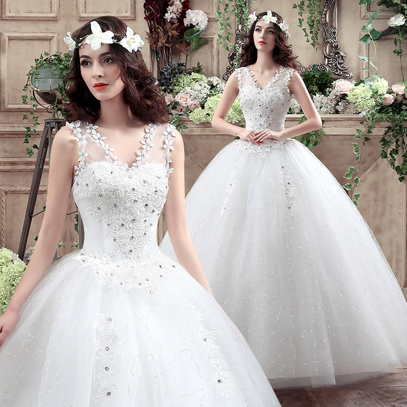 2016 new bride wedding dress custom shoulder wedding dress qi korean word shoulder wedding dress wedding dress tutu