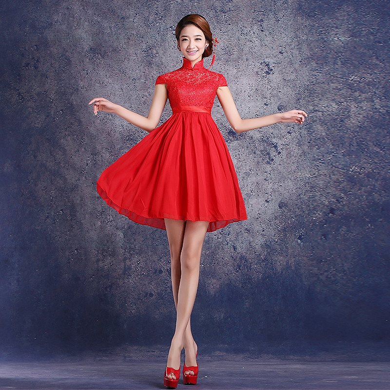 2016 new bridesmaid dress bride toast clothing female short paragraph bridesmaid dress red chinese wedding dress wedding dress was thin summer