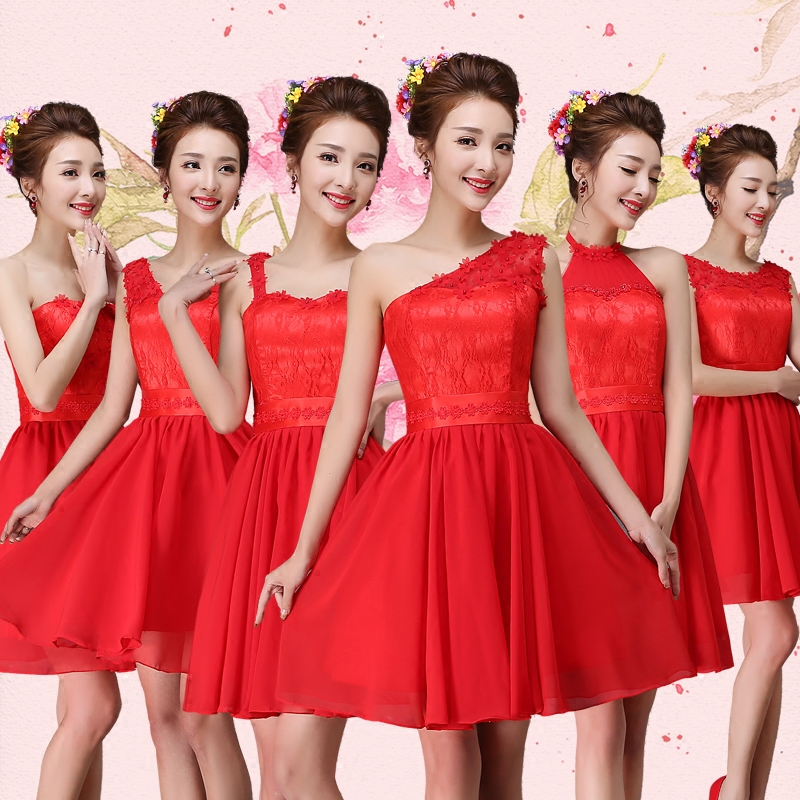 2016 new bridesmaid dress red dress short paragraph bridesmaid dress mission sisters dress bridesmaid dress banquet dress skirt dress autumn and spring