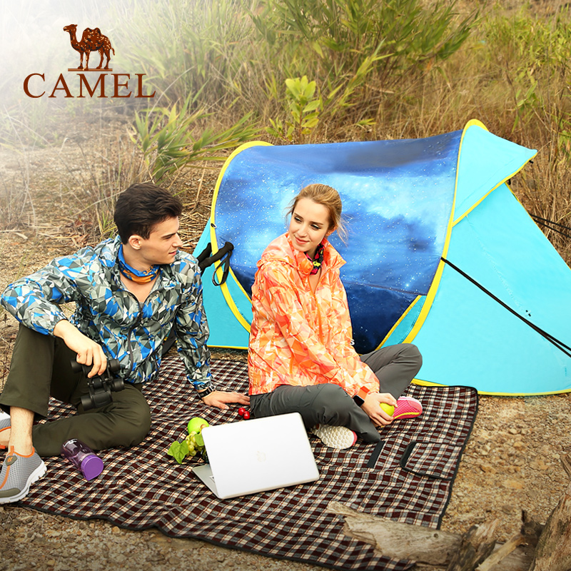 [2016 new] camel camel outdoor camping tent free ride speed open tent double bunk seasons