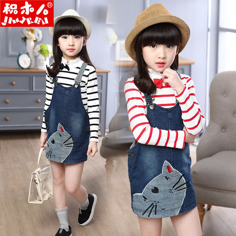 2016 new children's clothing spring models cartoon baby girls denim skirt dress strap dress children skirts spring
