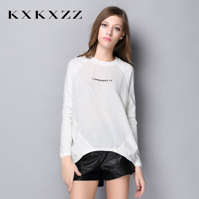 2016 new european and american minimalist casual bottoming shirt printing ms. kxkxzz ms. loose long sleeve t-shirt 2989