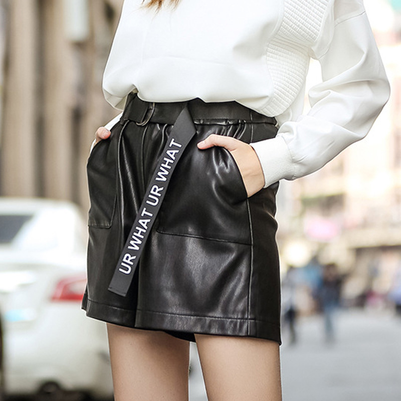 2016 new european and american women explosion models wild european version of the black leather belt wide leg was thin pu leather shorts