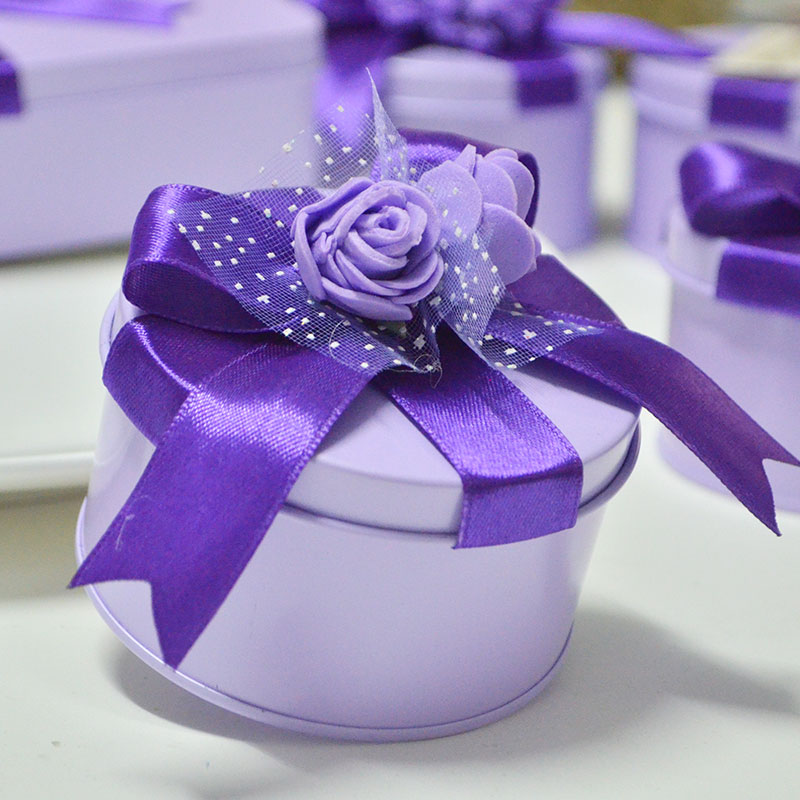 2016 new fashion purple candy tin box tin creative sen department of european round cylinder lavender