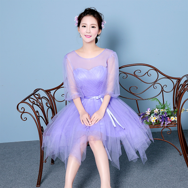 2016 new group bridesmaid dress bridesmaid dress bridesmaid dress short paragraph sister sister small light purple dress skirt dress banquet