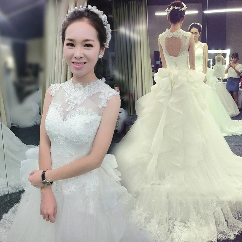 2016 new korean shoulder lace wedding dress the bride word shoulder long trailing big yards was thin female autumn and winter