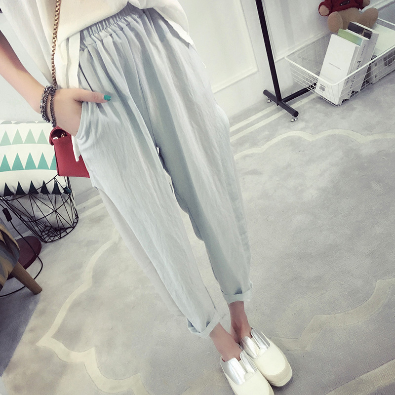 2016 new korean version of loose pants female spring and summer pants thin pantyhose summer college wind korean fan loose casual pants tide