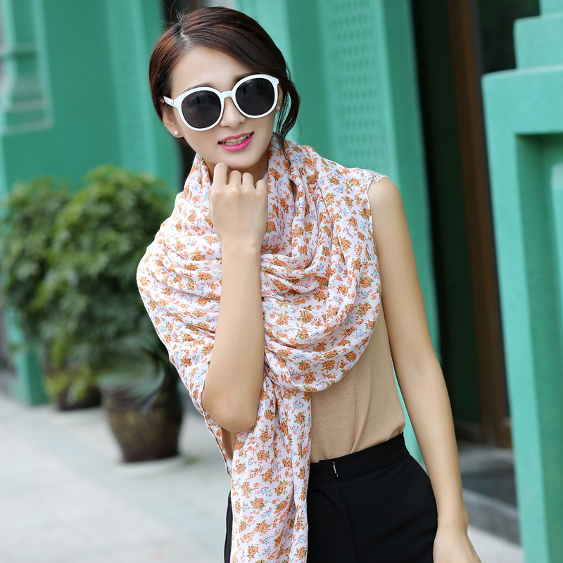 2016 new korean version of spring and autumn garden floral floral air conditioning shawl scarf summer sun beach scarf flow su