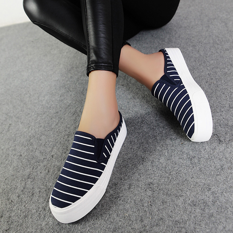 2016 new korean version of spring and summer sets foot pedal foot shallow mouth lazy shoes striped canvas half slippers tide bottomed shallow mouth shoes