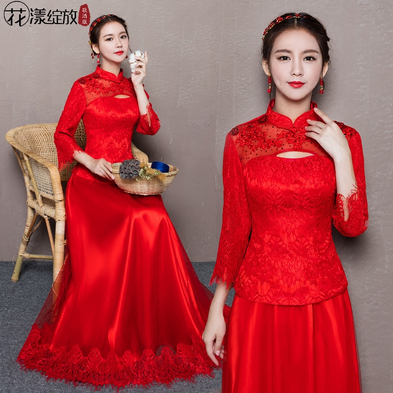 2016 new long section of red bride toast clothing cheongsam dress retro improved cheongsam chinese wedding dress red evening dress