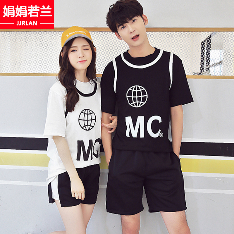 2016 new male and female couple short sleeve t-shirt shorts summer korean version of junior high school students leisure sports suit class service