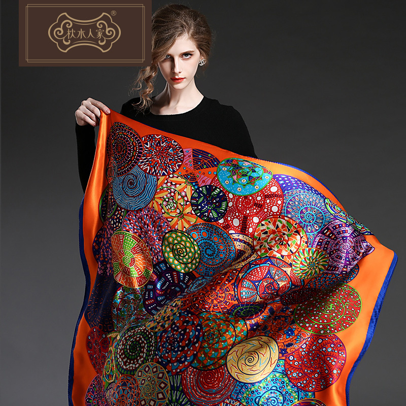 2016 new pure silk scarf large square silk pillow water people 100% silk scarves silk shawl scarf gift box