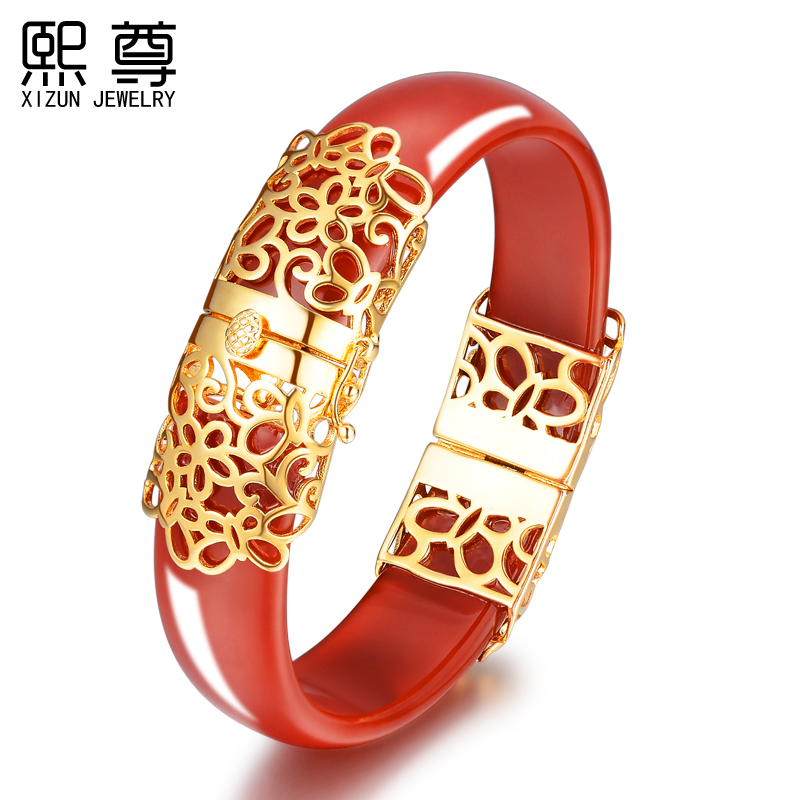 2016 new red agate bracelet original natural splendor auspicious opening gilded vintage chinese red chalcedony bracelet