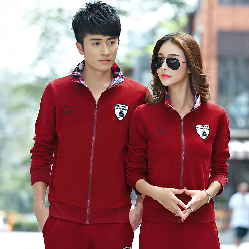 2016 new spring and autumn sports suit lovers korean men long sleeve casual sports suit sportswear suit male cardigan