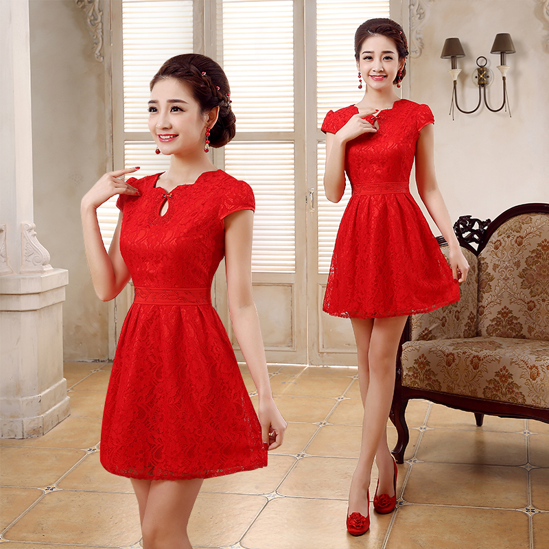 2016 new spring and improved cheongsam dress vintage red chinese cheongsam dress bride wedding toast wedding dress short paragraph slim