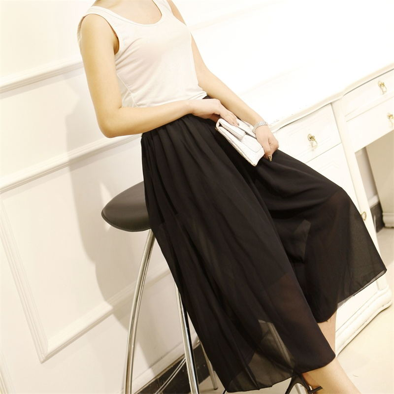 2016 new summer big yards chiffon skirts high waist wide leg pants female summer loose hundred take culottes pant tide