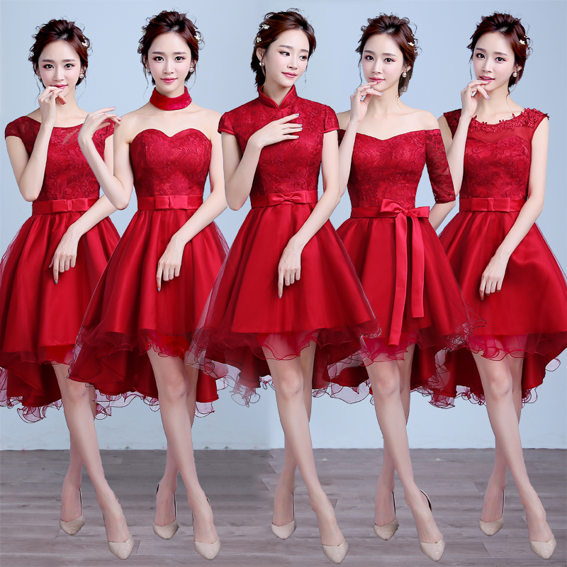 3c310d0add0 Get Quotations · 2016 new summer bridesmaid dress short paragraph korean  burgundy skirt sister group bridesmaid dress banquet evening