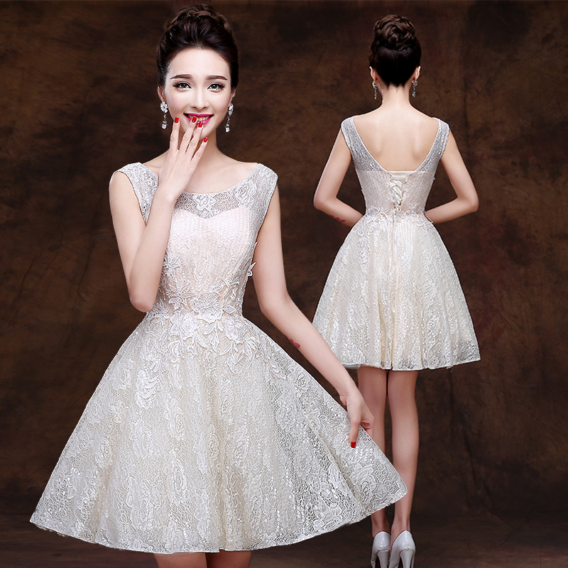 2016 new summer bridesmaid dresses champagne bridesmaid dress bridesmaid dress short paragraph bridesmaid dress was thin slim dress graduation dress mini dress women