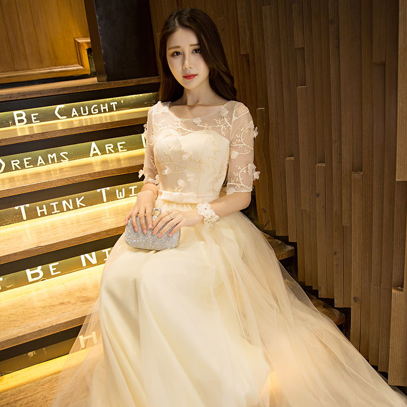2016 new summer korean champagne bridesmaid dress skirt sister group bridesmaid dress bridesmaid dress dress with a mother dress evening dress long section