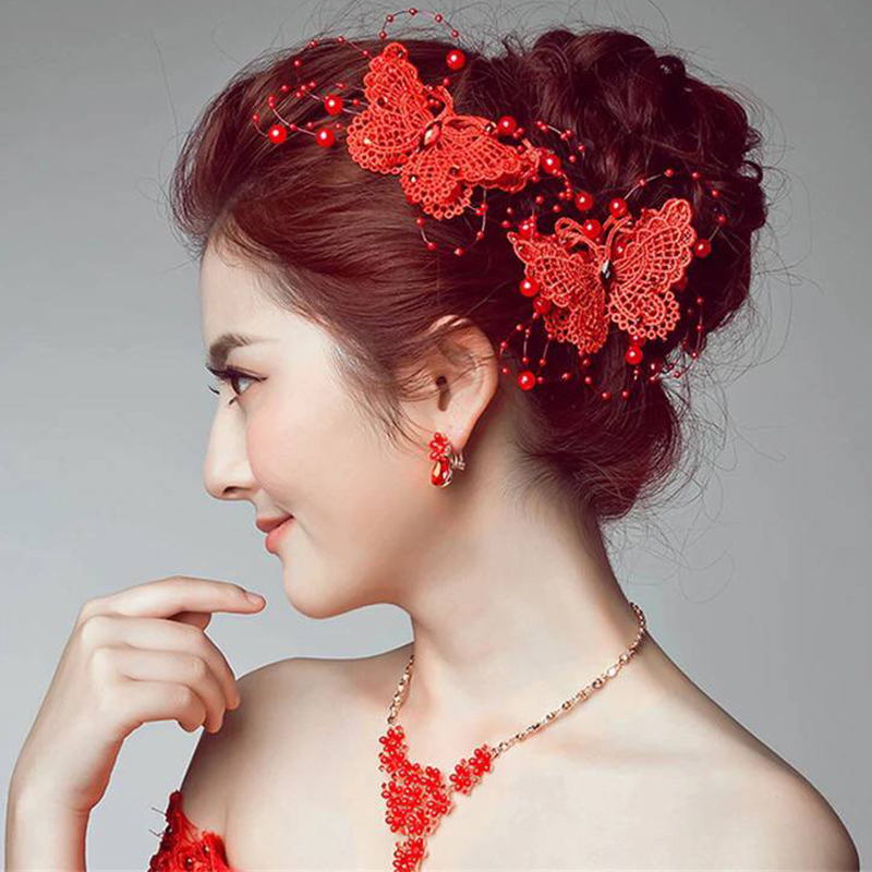 2016 new summer korean version of the new color bow princess korean red bridal headdress korean wedding accessories wedding jewelry