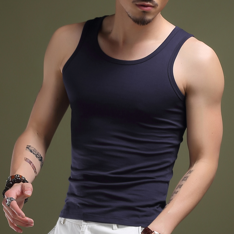 2016 new summer men's undershirt vest bottoming vest vest men's sports vest tight round neck slim clothes