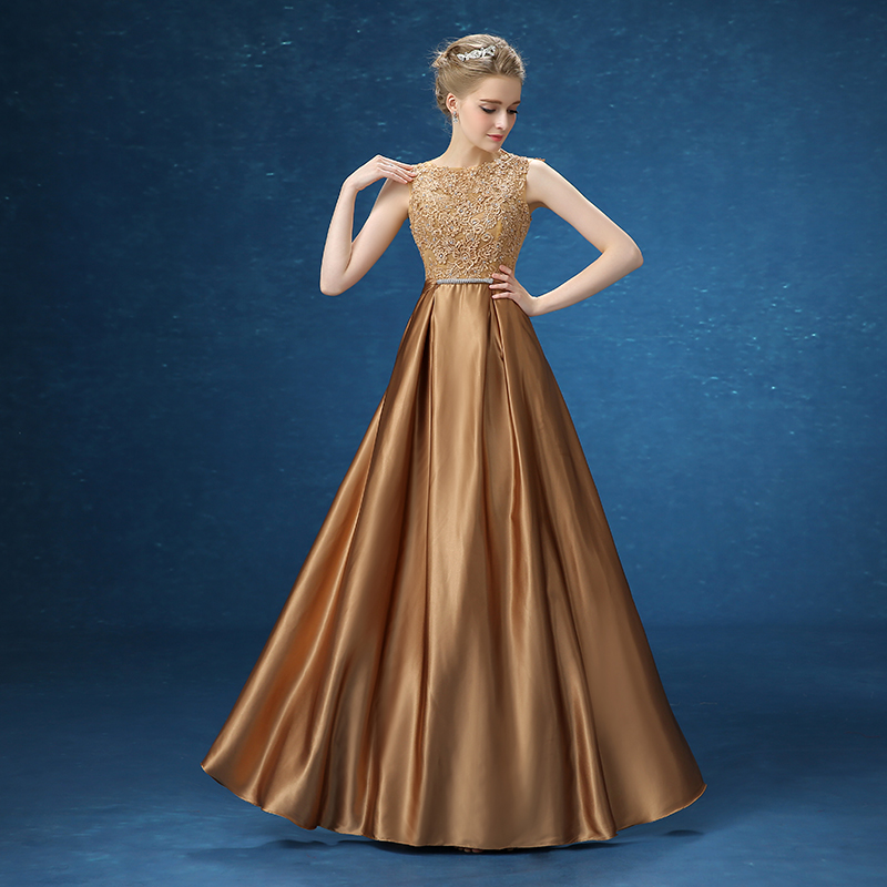 fa537a33825b Get Quotations · 2016 new summer slim word shoulder lace evening dress long  section of the golden fashion prom