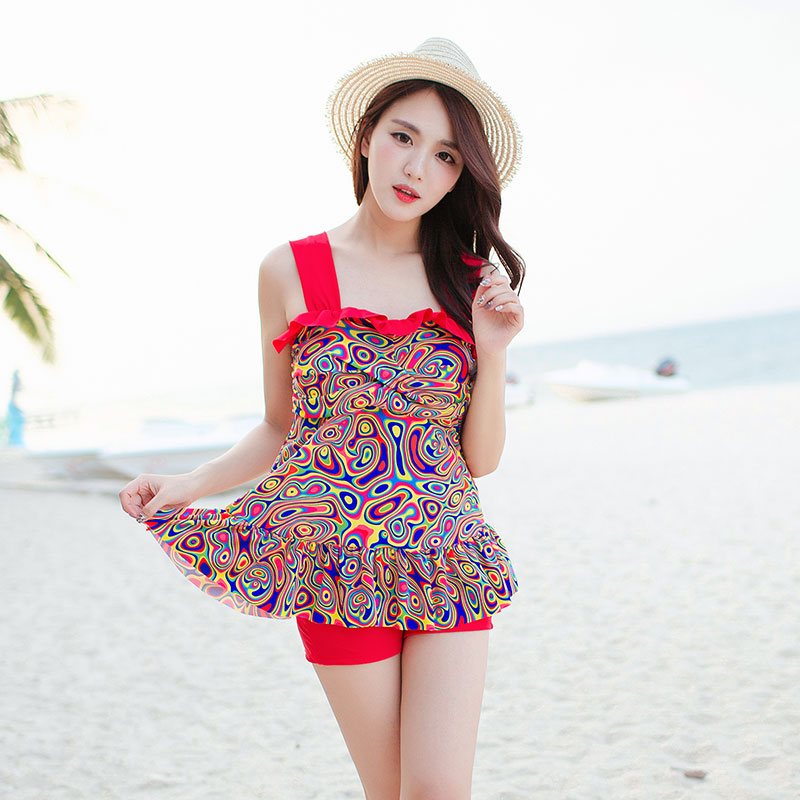 2016 new swimsuit female siamese skirt was thin cover belly big yards conservative swimsuit flat angle toilet edition
