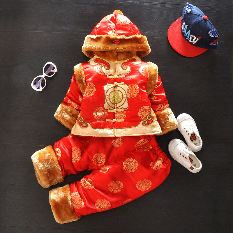 2016 new thick clothing baby costume festive parure baby clothes fall and winter clothes coat with hat