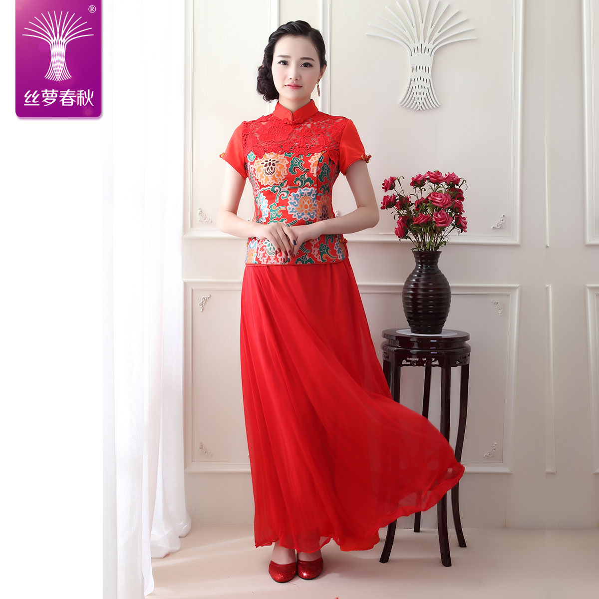 2016 new toast clothing red lace improved cheongsam cheongsam dress retro long section of the bride wedding toast clothing cheongsam dress short sleeve