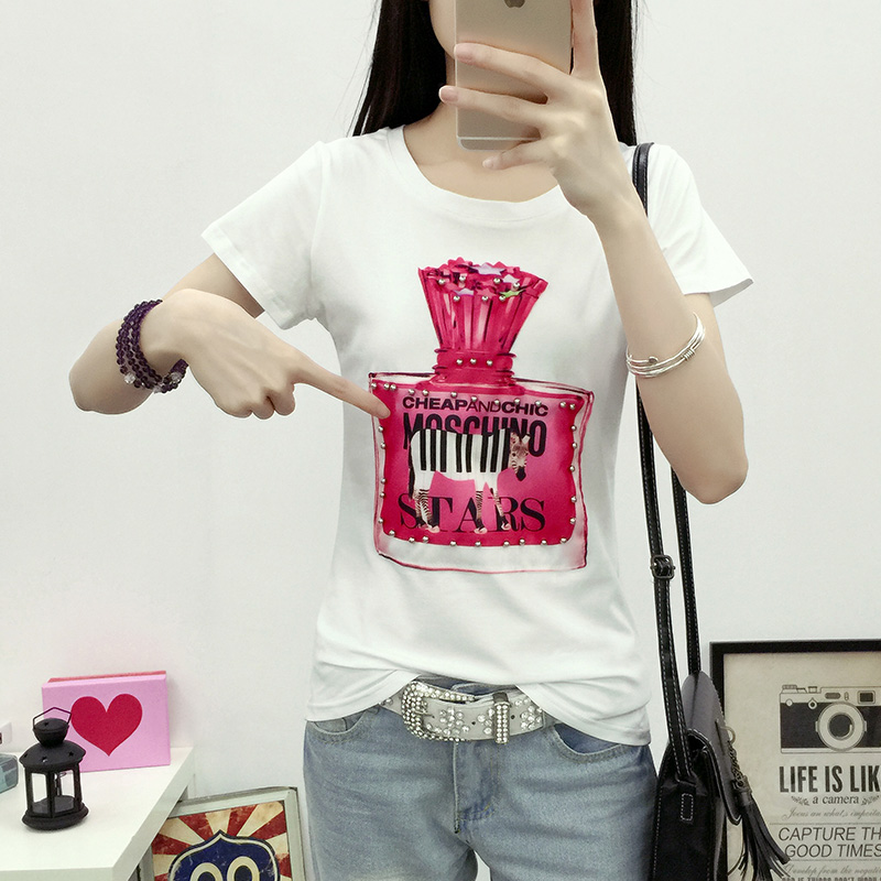 2016 new told the perfume bottle of pure cotton short sleeve t-shirt slim bottoming shirt female tide was thin large size women
