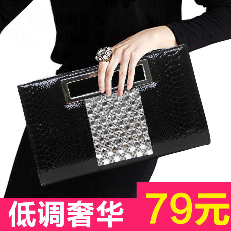 2016 new wave of female clutch bag diamond fashion personality female crocodile pattern handbag clutch handbag large capacity bag