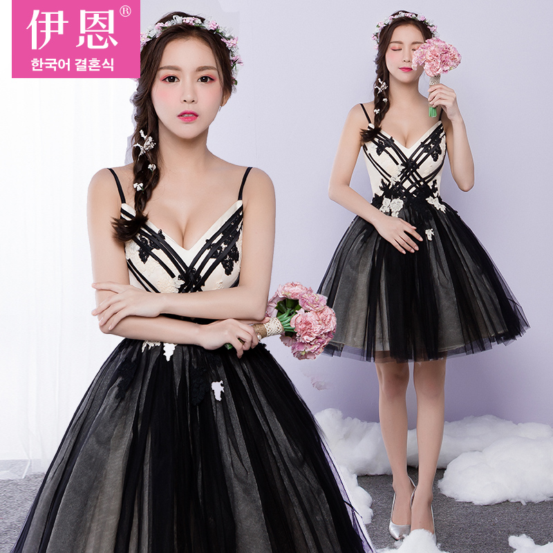 2016 new wedding dress evening dress party banquet sexy black female short paragraph banquet costumes will dress