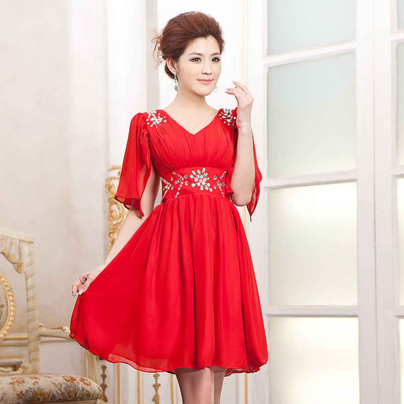 178004b47 Get Quotations · 2016 new wedding dress in spring and summer fly sleeve  short paragraph diamond red white toast
